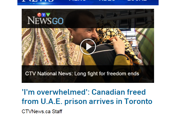 CTV News - 'I'm overwhelmed': Canadian freed from U.A.E. prison arrives in Toronto